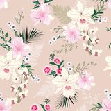 Soft and delicate orchid floral garden flower tropical mood ,seamless pattern in vector design for fashion,fabric,wallpaper, and. All prints on soft pink stock illustration