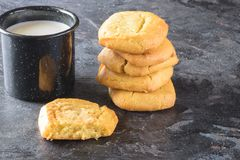 Soft delicious cookies with milk Stock Image