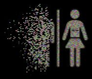 Soft Disappearing Pixel Halftone Toilet Persons Icon. Toilet persons pictogram with dissolved effect in bright color tones on a black background. Bright round royalty free illustration
