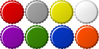 Soft Drink Bottle Caps Collection. Different Color Bottle Cap Collection Royalty Free Stock Photo