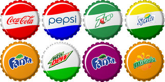 Soft Drink Bottle Caps Collection Royalty Free Stock Photos