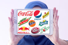 Soft drink brands and logos Stock Photo
