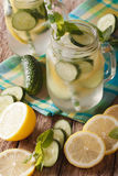 Soft drink with cucumber, lemon, ice and mint close up in a glas Royalty Free Stock Photos