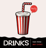 Soft drink in cup on poster Stock Photos