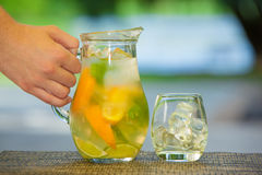 Soft drink and fruit. Stock Photography