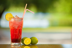 Soft drink and fruit. Royalty Free Stock Images