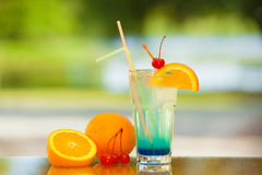 Soft drink and fruit. Royalty Free Stock Photos