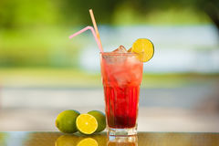 Soft drink and fruit. Stock Image