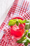 Soft drink with ice and mint. Refreshing non-alcoholic soft drink with ice and mint Royalty Free Stock Photography