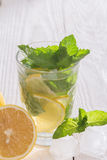 Soft drink with ice and mint. Refreshing non-alcoholic soft drink with ice and mint Royalty Free Stock Photos