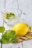 Soft drink with lemon Stock Images