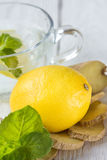 Soft drink with lemon Stock Photos