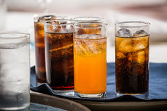 Soft drink. Many soft drink are on a tray royalty free stock image