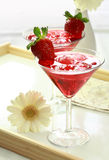 Soft drink with strawberry royalty free stock photography