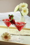 Soft drink with strawberry Royalty Free Stock Photos