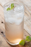 Soft drink strawberry soda and ice. Stock Photography