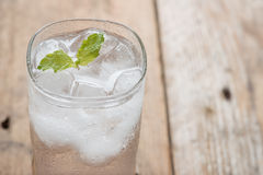 Soft drink strawberry soda and ice cube. Royalty Free Stock Photos
