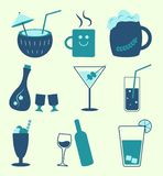 Soft drinks and alcohol beverages types, vector stock illustration