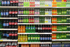 Soft Drinks And Beverages In Supermarket Stock Photography