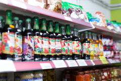 Soft drinks at beverage section. BARCELONA, SPAIN - MARCH 22, 2015: Assortment of soft drinks at beverage section in average Polish supermarket Royalty Free Stock Photography