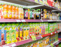 Soft drinks at beverage section Stock Images