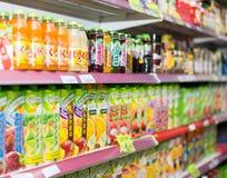 Soft drinks at beverage section. BARCELONA, SPAIN - MARCH 22, 2015: Soft drinks at beverage section in average Polish supermarket Stock Images