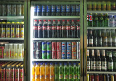 Soft Drinks And Beverages In Supermarket royalty free stock images