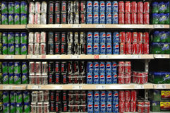 Soft Drinks And Beverages In Supermarket. Beverages and soft Drinks in China supermarket shelf Royalty Free Stock Images
