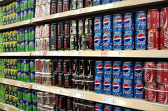 Soft Drinks And Beverages In Supermarket. Beverages and soft Drinks in China supermarket shelf Royalty Free Stock Image