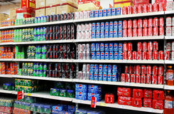 Soft Drinks And Beverages In Supermarket. Beverages and soft Drinks in China supermarket shelf Stock Photography