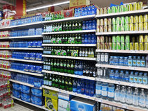 Soft Drinks And Beverages In Supermarket Royalty Free Stock Photo