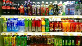 Soft drinks and Beverages in Supermarket. In Hong Kong China Royalty Free Stock Photography