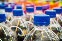 Soft drinks bottles. In supermarket Royalty Free Stock Photography