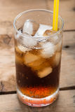 Soft drinks, Cola glass with ice cubes. Royalty Free Stock Photography