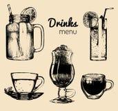 Soft drinks and glasses for bar,restaurant,cafe menu. Hand drawn beverages vector illustrations set,lemonade,coffee,tea. Stock Image