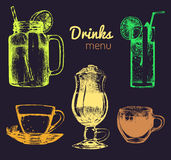 Soft drinks and glasses for bar,restaurant,cafe menu. Hand drawn beverages vector illustrations set,lemonade,coffee,tea. Stock Photography