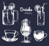 Soft drinks and glasses for bar,restaurant,cafe menu. Hand drawn beverages vector illustrations set,lemonade,coffee,tea. Stock Images