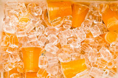 Soft drinks in plastic cups Stock Images