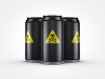 Soft drinks are poison for health. Soft drinks can with skull and cross bone Royalty Free Stock Image