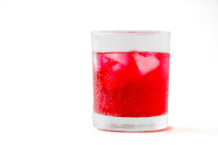 Soft drinks. Red soft drinks in a glass with clipping path Stock Photos