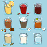 Soft drinks set. Vector  illustration in cartoon style Royalty Free Stock Photography