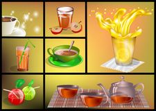 Soft drinks set. Vulticolor drinks on abstract background Royalty Free Stock Photos
