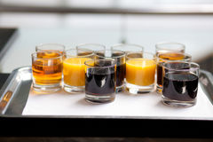 Soft drinks on tray. Various soft drinks on tray Stock Images