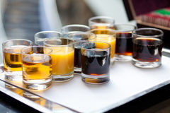 Soft drinks on tray. Various soft drinks on tray Stock Photos