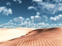 Soft dunes. 3d render of sand dunes in a sunny day with copy space Stock Photo