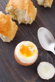 Soft egg with fresh baguette Royalty Free Stock Photo