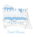 Soft fairytale bed - illustration Royalty Free Stock Images