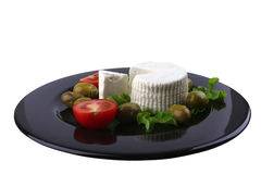 Soft feta cheese served with tomato Stock Photo