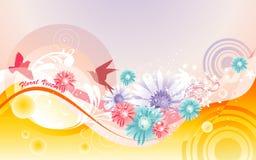 Soft flower background. Background soft flower and birds illustration Stock Photography