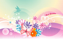 Soft flower background. Background soft flower and birds illustration Stock Images